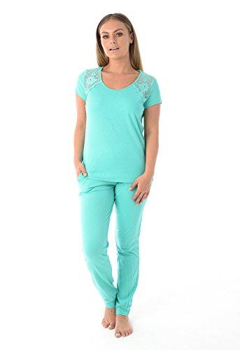 Ex Marks & Spencer Ladies Lace Short Sleeve Pyjama Set 100% Cotton Pockets Womens PJ's Nightwear (Turquoise, - Marks Pyjamas Spencer Womens And