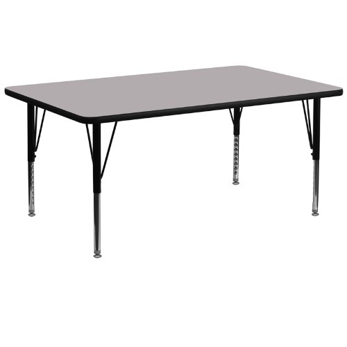 Flash Furniture 30''W x 72''L Rectangular Grey Thermal Laminate Activity Table - Height Adjustable Short Legs by Flash Furniture