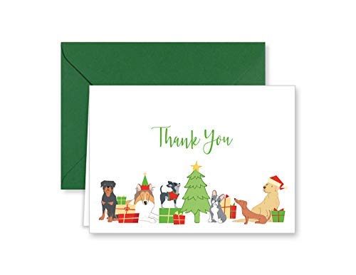 Paper Frenzy Christmas Dog and Puppy Holiday Thank You Note Cards and Green Envelopes - 25 pack