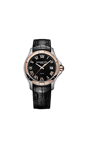 Raymond Weil Parsifal Black Dial SS Leather Automatic Men's Watch 2970-SC5-00208