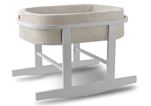 Monte Design Ninna Nanna Bassinet - Stone Colored Basket with White Base
