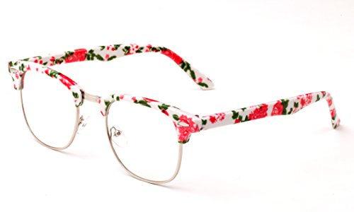 Newbee Fashion - Clubmaster Oval Stylish Retro Vintage Semi-Rimless Floral Classic Half Frame Clear Glasses - Wooden Frame Glasses