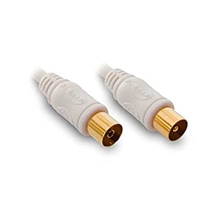 METRONIC - TV por cable coaxial de extensión + adaptador (M / F) Blanco
