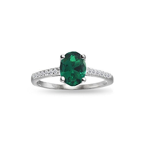 GemStar USA Sterling Silver Simulated Emerald and White Topaz Oval Crown Ring, Size 7