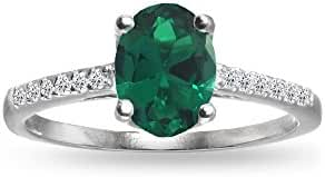 Sterling Silver Simulated Emerald and White Topaz Oval Crown Ring