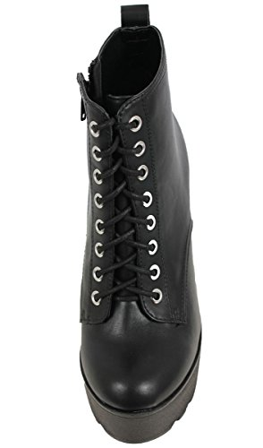 Platform Lace Up Bootie - Gorgeous Chunky Closed Toe Lug Sole - Edgy Block High Heel