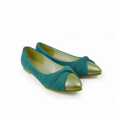 7 with Microfibre and M Solid Closed Assorted Flats Pointed US Blue Women's B Flowers Toe WeenFashion Colors 1FO4w4