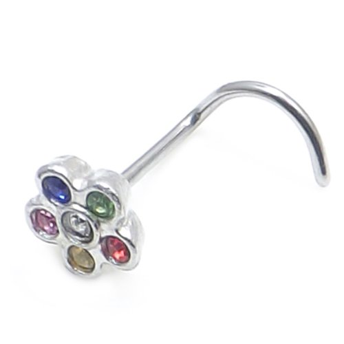 multicolore fleur de cristal et le nez en acier chirurgical vis de calibre 20 (0,8mm x 7mm)