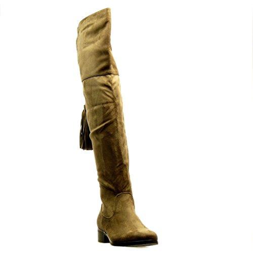 Angkorly - Zapatillas de Moda Botas Altas Botas cavalier flexible mujer pompom fleco Talón Tacón ancho 3.5 CM - Caqui