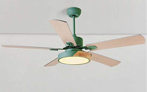 - IV-ydzxx 52 Inch Mute Ceiling Fan with Light and Remote Control, Antique Wood Leaf Style, 3 Speeds, 5 Fan Blades, Acrylic Lampshade 220V LED15W,Green
