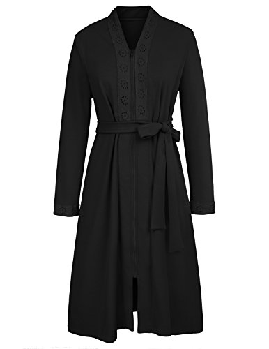 Long Solid Sleepwear Loungwear Bathrobe for Women with Floral Lace Trim Black S