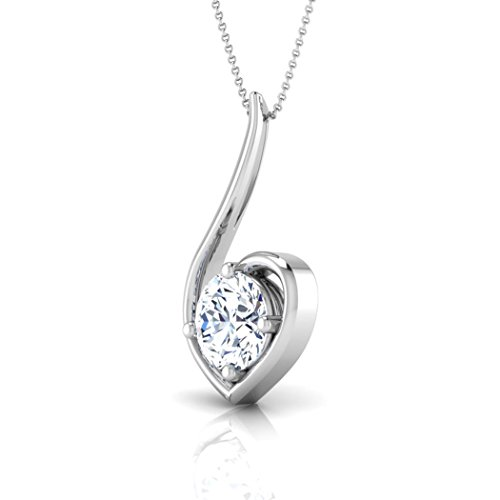 14 K Or blanc 0.25 CT TW Round-cut-diamond (IJ | SI) Pendentif