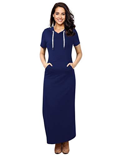 GloryStar Women Long Sleeve Pullover Stripe Pocket Slim Sweatshirt Casual Hoodie Dress Hooded Sweater Dresses (XL, Dark Blue-1)