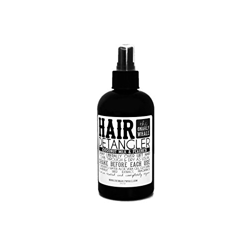 Gnarly Whale Coconut Milk & Peaches Hair Detangler Spray 8oz - Detangle unruly knots leaving hair soft and silky by The Gnarly Whale