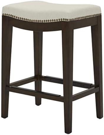 Amazon Brand Stone Beam Elden Nailhead-Trim Saddle Kitchen Counter Height Backless Stool, 26 H, Chalk