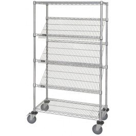 (Quantum Storage Systems M1848SL6C 5-Tier Wire Shelving Unit with Slanted Shelves, Mobile, Chrome Finish, 400 lb. load capacity, 69