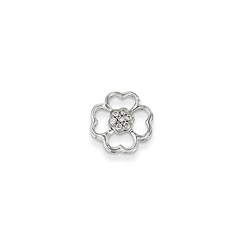 Flower Gold Diamond White 14k Pendant (14K White Gold Diamond Flower Pendant Slide)