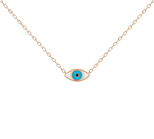 Greek Evil Eye Necklace - Rose Gold Evil Eye White & Blue Enamel Necklace To Watch Over & Guide You in Life for Women + Girls