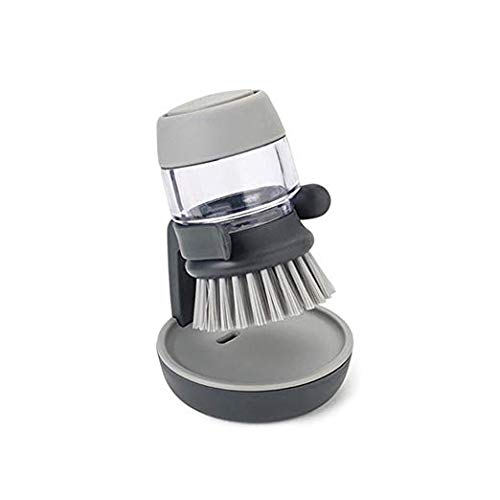 Soap Dispensing Palm Brush Kitchen Pot Dish Sink Brush Creative Household Cleaning Set with Storage Stand (Grey) (Stand Creative)