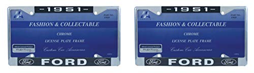 1951 Ford License Plate Frame Chrome Finish with Blue and White Script, Set of 2 ()