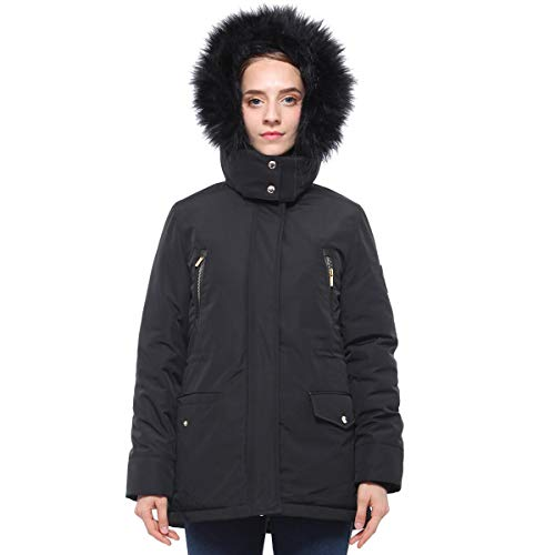 Neck Puffer - Rokka&Rolla Women's Lined Hooded Heavy Insulated Parka Puffer Jacket with Removable Faux Fur Hood Trim