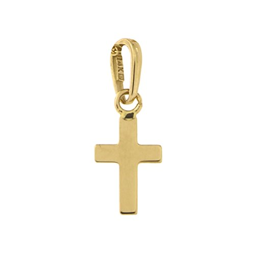 14k Yellow Gold Tiny Polished Cross Pendant Necklace - pendant only (14k White Gold Small Cross)