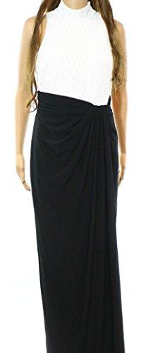 Lauren Ralph Lauren Womens Sequined Ruched Evening Dress B/W (Ralph Lauren Silk Dress)