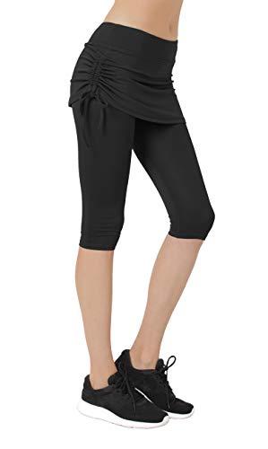 Women's Running Cropped Capri Pants Swim Skirted Sport Leggings Sun Protection l bk Black