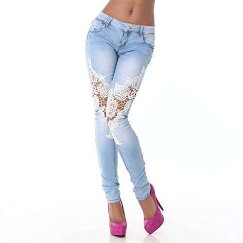 Trousers Femmes Skinny Clair pissure Fashion JackenLOVE Crayon Dentelle Bleu Denim Pantalons Jeans Long nqHXxR1
