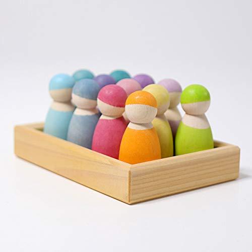 Pastel Toy - Grimm's 12 Pastel Friends Wooden Dolls