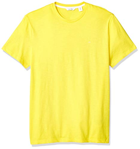 Calvin Klein Men's Short Sleeve Crew Neck T-Shirt, Vibrant Yellow slub, Small