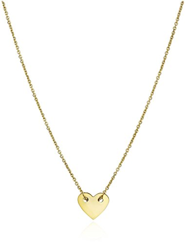 14k Yellow Gold Italian Small Heart Engravable Disc Pendant Necklace, 17