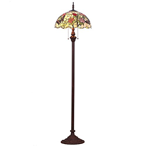Bieye Tiffany Glass Floor Lamp with Metal Base,