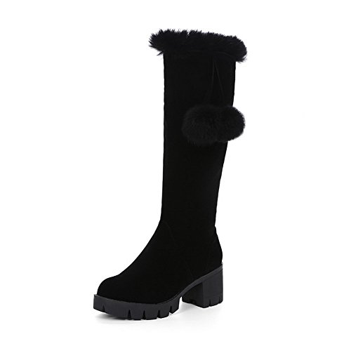 top Closed Boots Zipper Round Toe Imitated Heels Suede Women's Kitten High Black AmoonyFashion vTwqxO6E