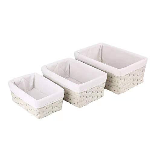 Hosroome Handmade Bathroom Storage Baskets Set Shelf Baskets with Liner Woven Decorative Home Storage Bins Decorative Baskets Organizing Baskets Nesting Baskets(Set of 3,Beige)