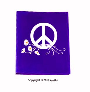 PEACE Sign Symbol Car Window Sticker Decal-LARGE WHITE & YELLOW Peace Daisy Flower Power VINYL sticker for car window laptop walls truck trailer by AmiArt (Image #3)