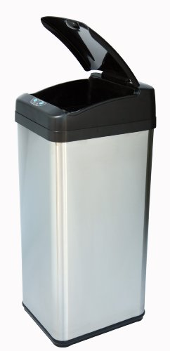 iTouchless 13 Gallon Square Stainless Steel extra-Wide Opening Touchless Trash Can MX