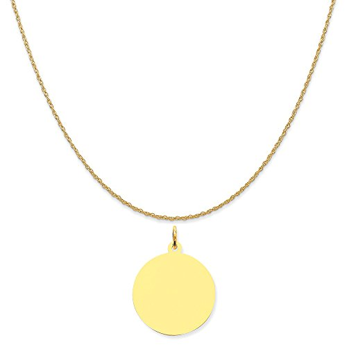 Mireval 14k Yellow Gold Round Disc Charm on a 14K Yellow Gold Rope Chain Necklace, 18