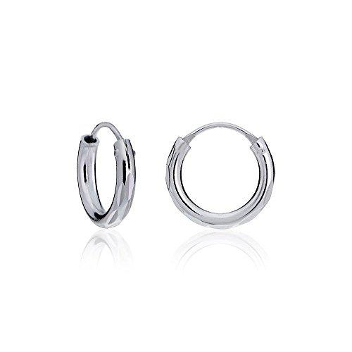 (Hoops & Loops Sterling Silver 2mm Diamond-Cut Endless Hoop Earrings, 15mm)