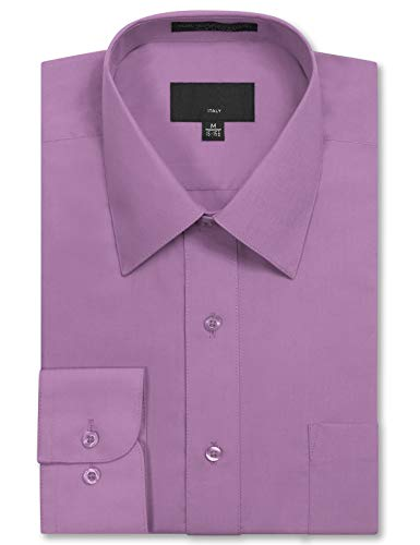 Sleeve Regular Fit Solid Dress Shirt 16-16.5 N 34-35 S Lilac,Large ()