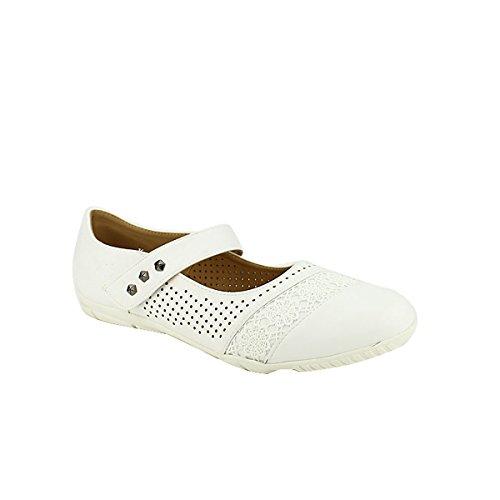 Chaussures KLAOUEY Blanche Femme Ballerine Cendriyon qYFwZ4Z