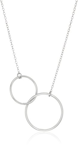 "Sterling Silver Infinity Interlocking Double Circles Gift On Sentiment Card Necklace, 16+2"" Extender"