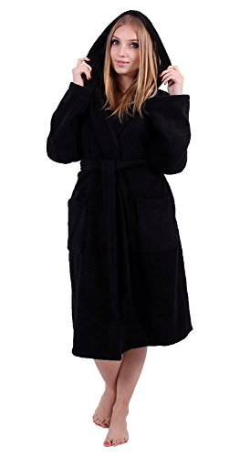 Turkuoise Women's Turkish Cotton Hooded Robe, Terry Hooded Bathrobe (Large/One Size, Black)