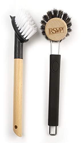 RSVP Dish Washing Brushes, Black, Set of 2