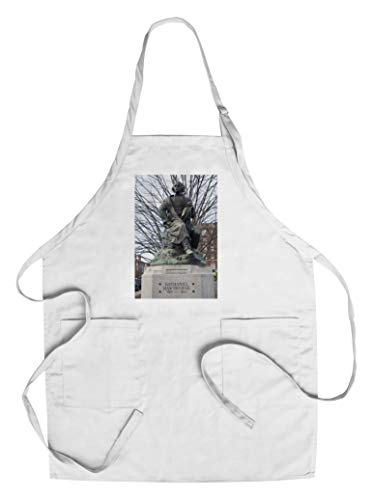 Salem, Massachusetts - Statue of Nathaniel Hawthorne - Photography A-94743 (Cotton/Polyester Chef's Apron) ()