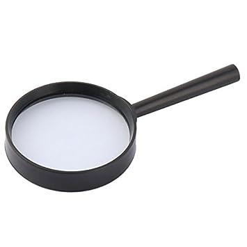 eDealMax Mango de plástico DE 70 mm de diámetro de lente óptico 5X portátil Lupa Negro