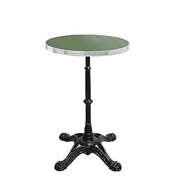 table bistrot ronde vert réséda avec cerclage en inox - pied ...