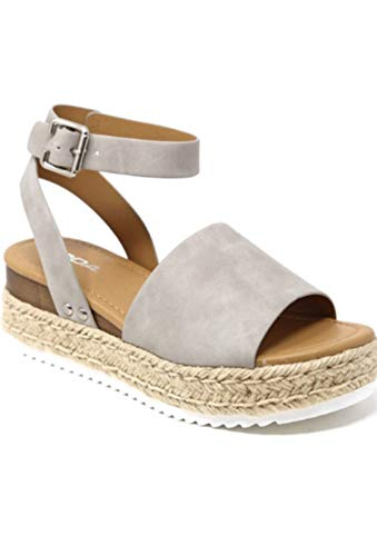 SODA Topic Casual Espadrilles Trim Rubber Sole Flatform Studded Wedge Buckle Ankle Strap Open Toe Sandal (9, Gray Nubuck)