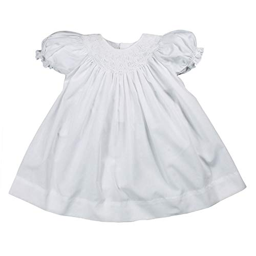 - Petit Ami Baby Girls' Daygown with Wave Smocking, 3 Months, White