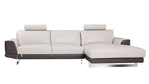 American Eagle Furniture EK-L062L-LG.TPE Austin Modern Italian Leather Right Facing Sectional, 114